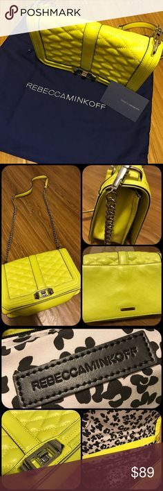 Bright Yellow Crossbody bag Beautiful Summer Color. Only use once good condition. Rebecca Minkoff Bags Crossbody Bags