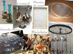 DIY///Ideias legais para organizar bijuterias - peneira de areia, bicicleta, guarda-chuva e castiçal