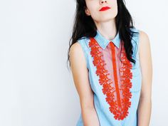 Denecia // Handmade Coral Salmon Lace Necklace Cotton by EPUU, $46.00