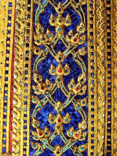 Exterior detail, Temple of the Emerald Buddha, Wat Phra Kaew, Bangkok, Thailand