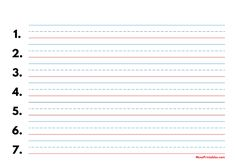 Printable Blue and Red Numbered Handwriting Paper (5/8-inch Landscape) for A4 Paper A4 Paper, Printable Paper, Handwriting, Free Printables, Templates, Landscape, Red, Blue, Calligraphy