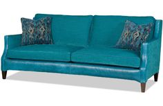 Check out #Bradinton-Young's Faye Sofa....sassy in teal with ikat pillows