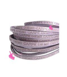Cordoncino Pelle 5 mm con Scritta Carpe Diem colore Lilla