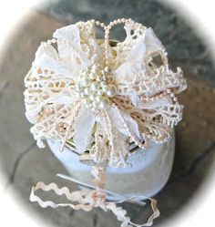 I am so excited to share another flower tutorial. Materials you will need: -- 3 or 4 feet of small string pearls -- 3 or 4 feet of nar. Shabby Chic Flowers, Burlap Flowers, Satin Flowers, Diy Flowers, Fabric Flowers, Diy Ribbon, Ribbon Crafts, Flower Crafts, Hand Embroidery Tutorial