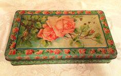 Decorative Rose Tin, Pink and Green Rose Tin, Collectible Tin, Old Vintage Tin, Keepsake Tin