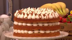 Banoffee cake... John Whaite's gives a classic a tasty twist by mixing banoffee pie with cake. It looks so impressive yet is easy to make... perfect with a cuppa! ...