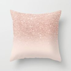 Throw Pillow featuring Rose Gold Faux Glitter Pink Ombre Color … by Girly Trend