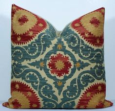 Decorative Suzani pillow cover 20x20 - teal blue - red - gold - tan Chenille throw pillow Designer cushion. $48.00, via Etsy.