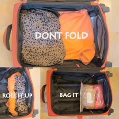 Don't Fold Your Clothes(Image Source: Flickr: holiday.taxis)It's the holiday season and room in our luggage is dire. More so than most times of the year. So, to save room for the gifts you're giving or receiving, roll up your clothes and bag them. This is also a good way to ...