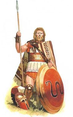 Hoplite warrior with Lino-thorax armour and a Thracian blanket.