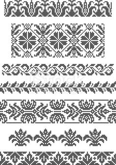 Designing Your Own Cross Stitch Embroidery Patterns - Embroidery Patterns Cross Stitch Sampler Patterns, Cross Stitch Borders, Crochet Borders, Crochet Chart, Cross Stitch Designs, Cross Stitching, Border Embroidery, Hand Embroidery Designs, Cross Stitch Embroidery