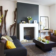 White living room with grey chimney breast and leather sofas . - White living room with grey chimney breast and leather sofas - Cream Living Rooms, Living Room Grey, Living Room Modern, Living Room Interior, Living Room Designs, Living Room Decor, Charcoal Sofa Living Room, Feature Wall Living Room, Cozy Living