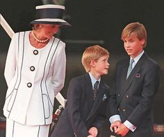 Princess Diana with her sons Prince Harry and Prince William at an event in London, 1995.