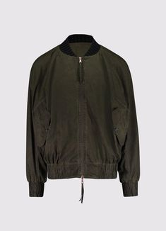 Ribbed Collar Over Sized Bomber Jacket