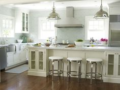 Extra Long Kitchen Island white kitchen with extra-long island in contrasting colour