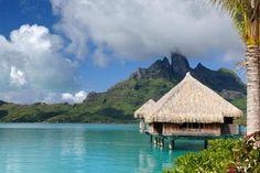 The clear waters outside St. Regis Bora Bora Resort, a luxury resort in Tahiti.
