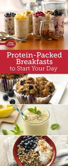 Get your day off to a great start with creamy smoothie bowls, blueberry muffins and other breakfast favorites made with yogurt. Correct Tips on Howto Cook Quinoa Protein Packed Breakfast, Healthy Breakfast Recipes, Healthy Snacks, Healthy Eating, Protein Recipes, Protein Foods, Whey Protein, High Protein, Clean Eating