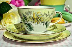 Royal Grafton Yellow Chrysanthemum China Teacup Trio
