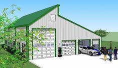 Bradley Mighty Steel RV Garage for sale, RV Shelter pricing Rv Garage, Garage House Plans, Garage Ideas, Pole Buildings, Shop Buildings, Shed Floor Plans, Barn Plans, Prefab Garages, Rv Carports