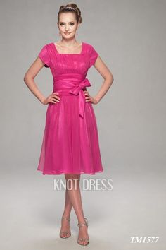 Pink Mother of the Bride Dresses with Sleeves | ... Side Knee Length Mother Of The Bride Dresses MOBD022 - KnotDresses.com