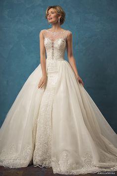 amelia sposa 2017 bridal sleeveless illusion bateau sweetheart split neckline fully embellished elegant mermaid ball gown overskirt wedding…