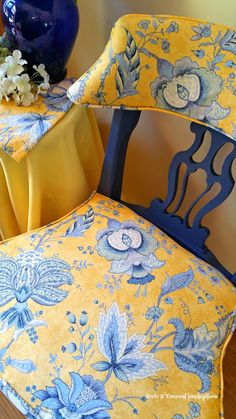 Chair Makeover in Blue and Yellow Toile Black Dining Room Chairs, Wayfair Living Room Chairs, Accent Chairs For Living Room, Wingback Accent Chair, Teal Accent Chair, Patio Chair Cushions, Diy Chair, Chair Makeover, Furniture Makeover