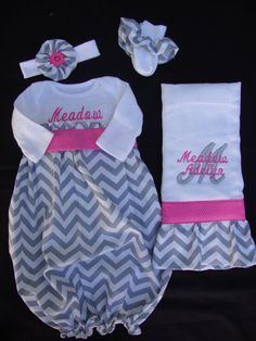Personalized Newborn/ Infant Chevron Take Me Home Gown with Matching Headband, Burp Cloth & ruffled socks (Gray and Pink Color)