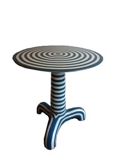 Discontinued Item Limited Stock Available 2 Blue and White in Dallas     Round Thick Resin Striped Side Table in Blue and White Also Available in Red and White  Also Available in Other Striped Styles