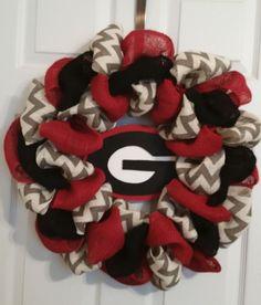 """Georgia Bulldogs Football  Burlap  Door Wreath 24"""" #GeorgiaBulldogs"""
