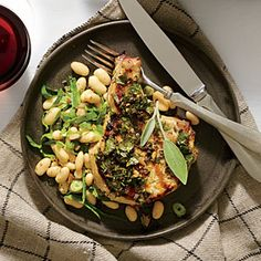 Tuscan-Style Garlic-Herb Pork Chops Recipe | Cooking Light #myplate #protein #veggies