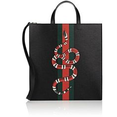 Gucci Men's Kingsnake-Print Tote Bag ($2,100) ❤ liked on Polyvore featuring men's fashion, men's bags, black, mens leather bag, gucci mens bag, mens leather tote bag, mens bag and men's tote bag