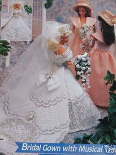Plastic Canvas Barbie Fashion Doll Pattern BRIDAL / Wedding GOWN w/ Train, Veil & Hats via Etsy