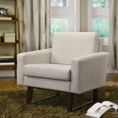 Amazon.com: Coaster 900176 Linen-Textured Accent Chair, Beige: Home & Kitchen