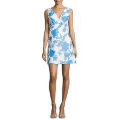 Milly Sleeveless Floral-Jacquard Minidress ($385) ❤ liked on Polyvore featuring dresses, bright blue, women's apparel dresses, white a line dress, white empire waist dress, empire waist dress, floral a line dress and white floral dress