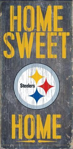 "Pittsburgh Steelers Wood Sign - Home Sweet Home 6""x12"""