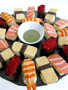 Sushi cakes made for a birthday picnic, by a park in front of the Sydney fish markets.     See more Sharon Wee Creations at: www.sharonwee.com.au