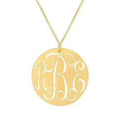 "Personalized script monogram cut out on 1.5"" round disc.  Made by our expert jewelers. Hand Cut"