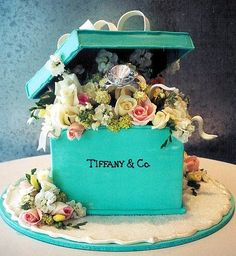 Tiffany box cake filled with flowers.
