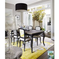 Yellow and Black Dining Room with French Dining Table - Contemporary - Dining Room Black Dining Room Chairs, Country Dining Rooms, French Dining Tables, Fine Dining, Interiors Magazine, Dining Chair Slipcovers, Dining Room Design, Dining Area, Home Living Room