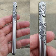 Engraved D Rocket Design Bolt Pens
