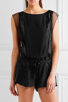 Calvin Klein Underwear - Tulle-trimmed Silk-satin Playsuit - Black - small