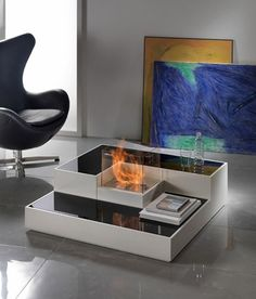 Tetris-Inspired Modern Bio Fireplace