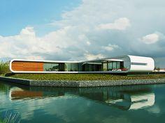 casa em forma futurista na beira da água