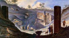 Pompei by italian Painter Pietro Fabris (1740 - 1792)