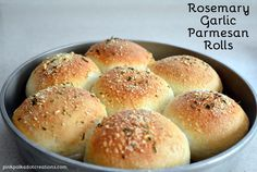 Easy Rosemary Garlic Parmesan Rolls.  These rolls are so good and flavorful.  They are pretty enough for a party and simple enough for just a sandwich and the best part of all is that they start with  frozen roll dough! | Pink Polka Dot Creations