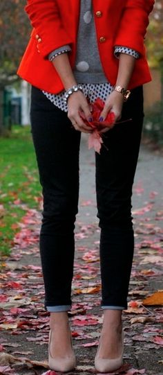 Love the polka dots on polka dots .. With a pop of red with the blazer. Could add boots too!