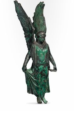 Statute of winged Nike, Classical Greek 5th century B.C. Not an angel but a Goddess of Victory. Later the Gods and Goddess lost their wings on pieces of art.
