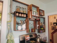 Recycle drawers as kitchen shelves