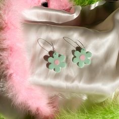 Diy Earrings Polymer Clay, Polymer Clay Crafts, Funky Earrings, Hoop Earrings, Cartoon Flowers, Diy Jewelry Projects, Accesorios Casual, Bff Gifts, Clay Charms