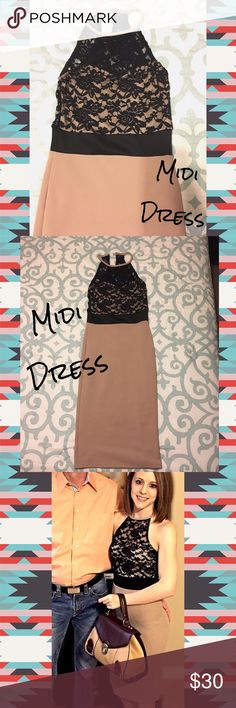 Tan/Black Midi Dress Like new condition. Wishing this beautiful dress would still fit me. The lace detail is quite complimenting. The tan underlining to the lace area to cover all appropriate areas. Size small. Skirt area is very firm fitting. Shows off curves. Dresses Midi